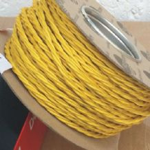 TWIST 2 Core Braided Fabric Cable Lighting Lamp Flex Vintage - POPPY YELLOW